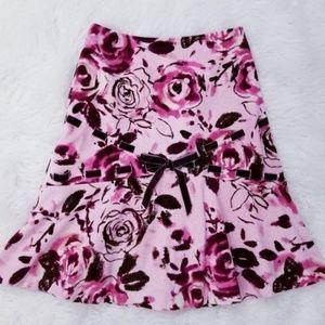 Anthropologie Odille Corduroy Floral Rose Skirt